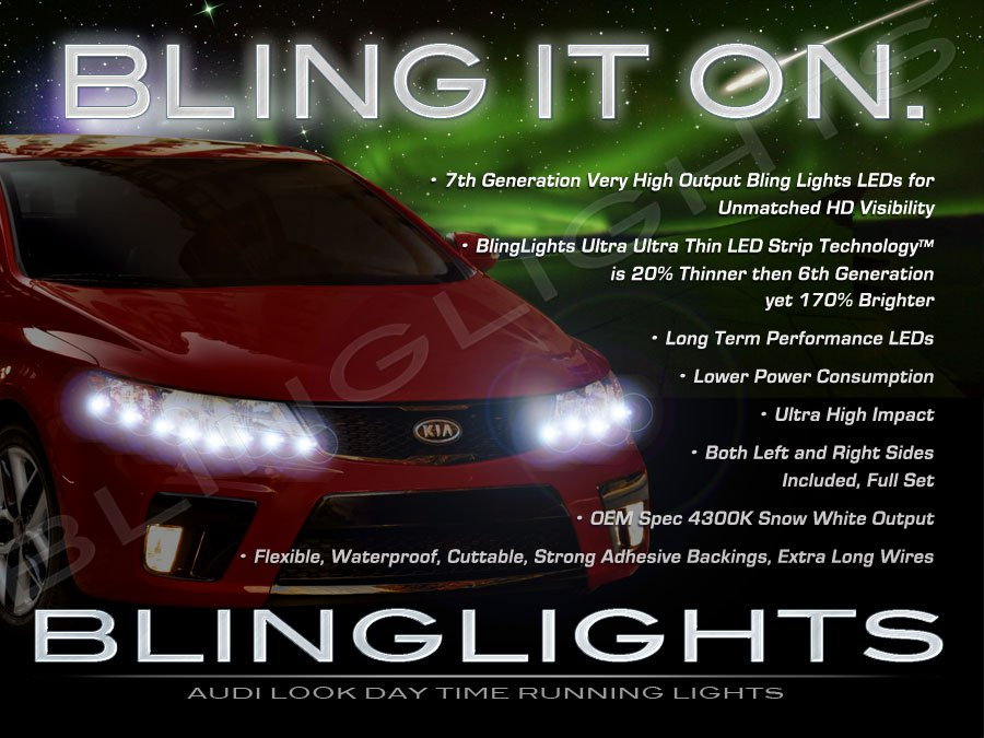 Kia Cerato LED DRL Strips for Headlamps Headlights Head Lamps Day Time Running Strip Lights