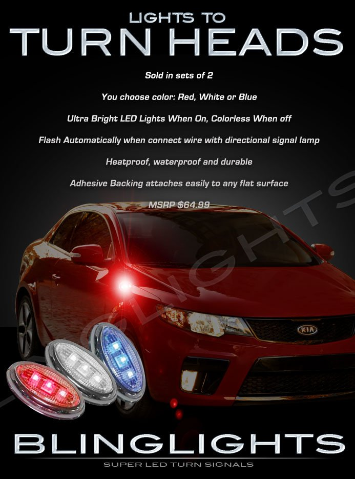 KIA Forte LED Flushmount Side Turn Signaler Light Kit Koup Sedan Turnsignal Lamps