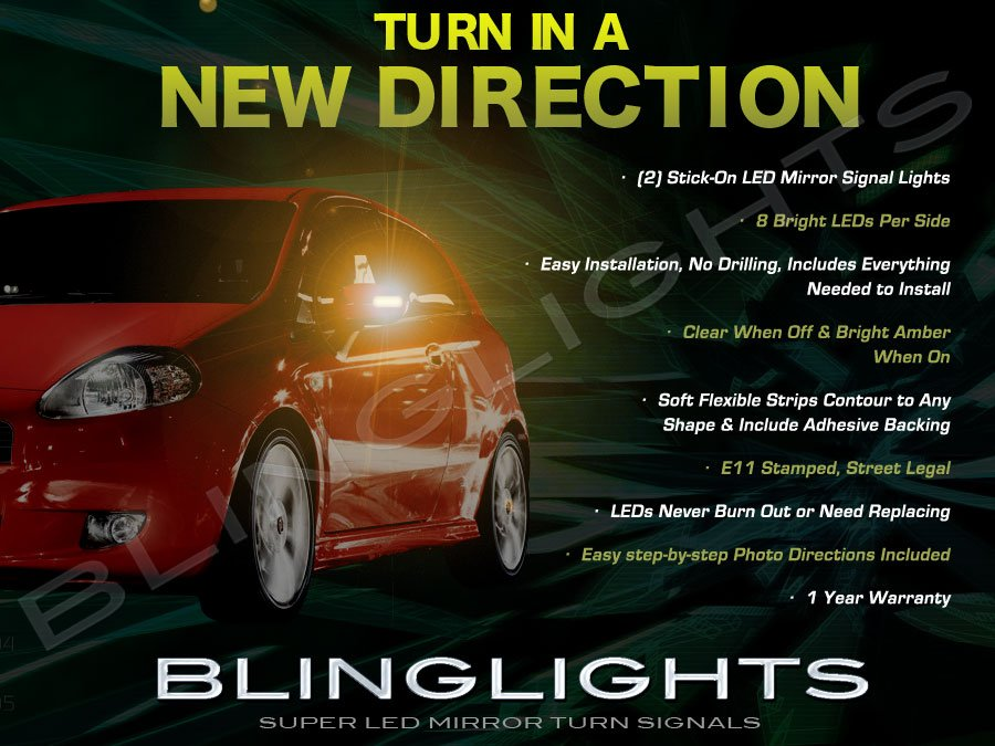 Fiat Grande Punto LED Side Mirrors Turnsignals Lights Turn Signals Lamps Mirror Signalers