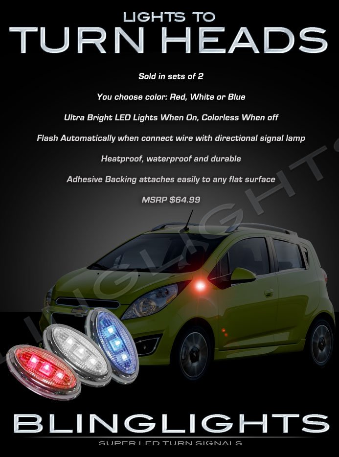 Chevrolet Chevy Spark LED Side Markers Turnsignals Lights Turn Signals Lamps Accents Signalers