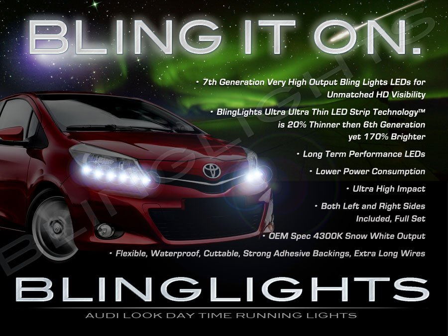 Toyota Yaris LED DRL Light Strips for Headlamps Headlights Day Time Running Lamps