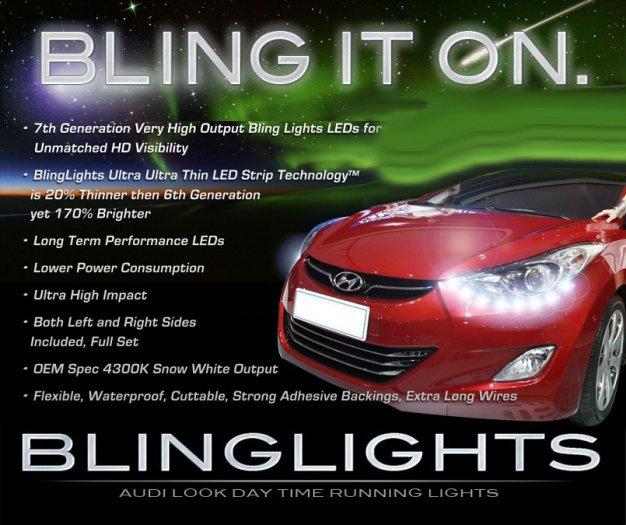 2011-2014 Hyundai Elantra LED DRL Head Light Strips Kit Day Time Running Lamps