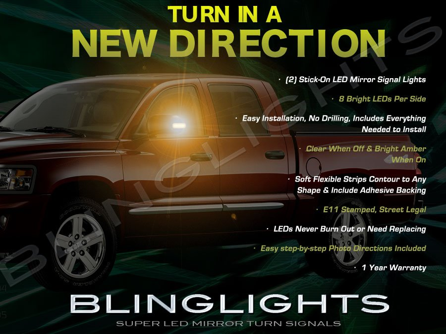 Dodge Dakota Side View Mirror Addon LED Turnsignal Lights