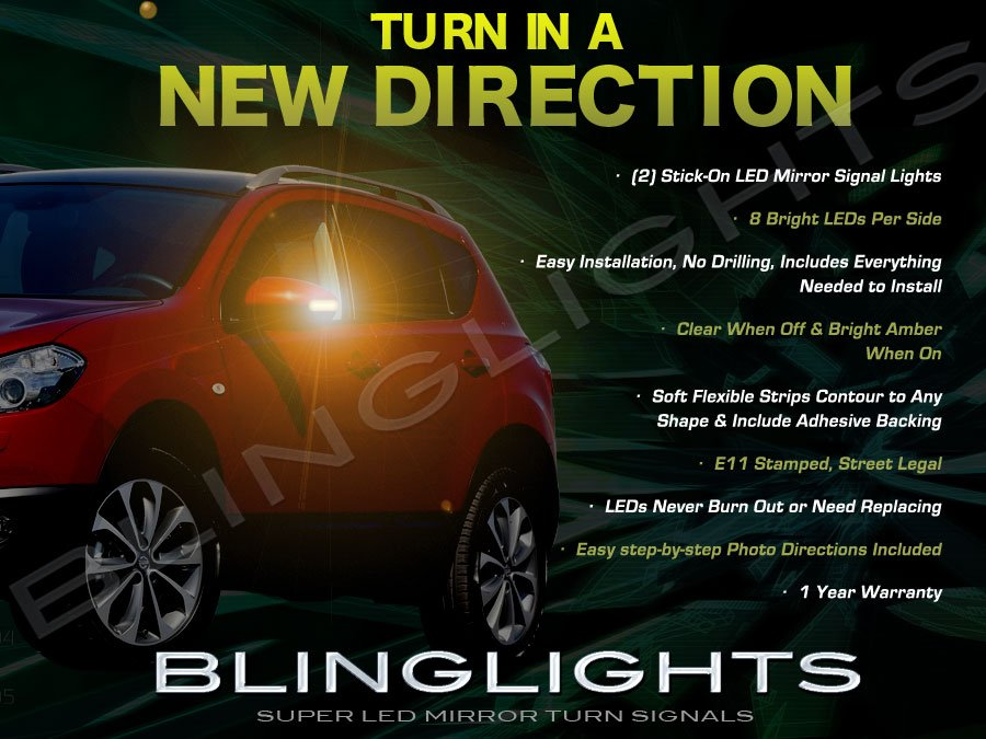 Nissan Dualis LED Side View Mirrors Turnsignals Lights Mirror Turn Signals Lamps Signalers Set