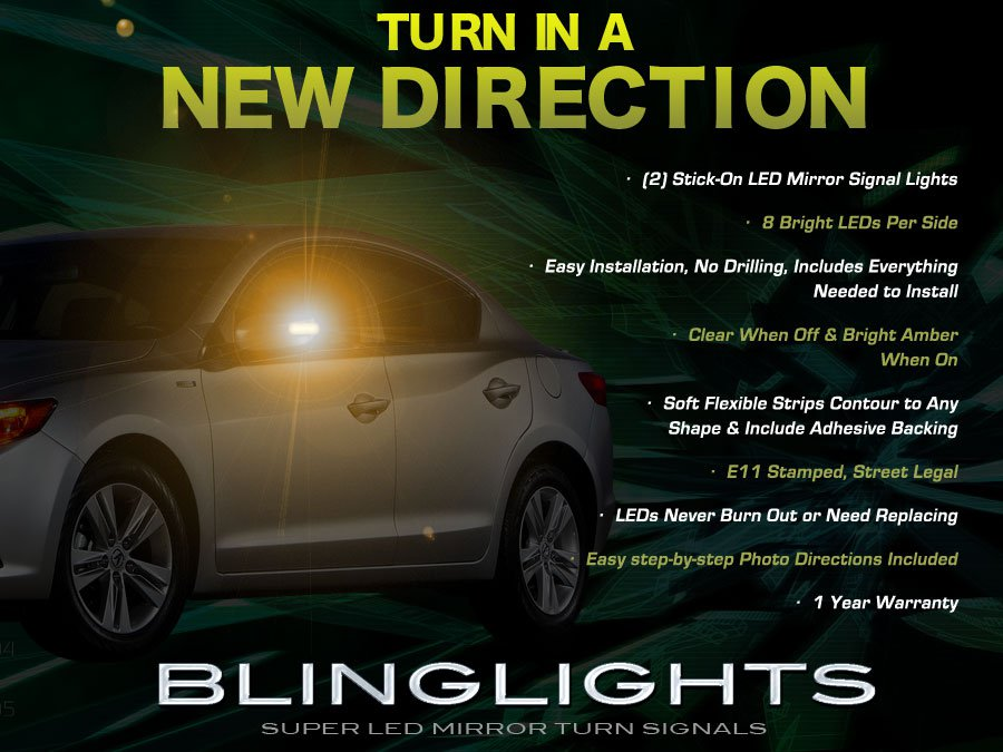 Acura ILX LED Side Mirrors Accent Turnsignals Lights Turn Signals Lamps Signalers