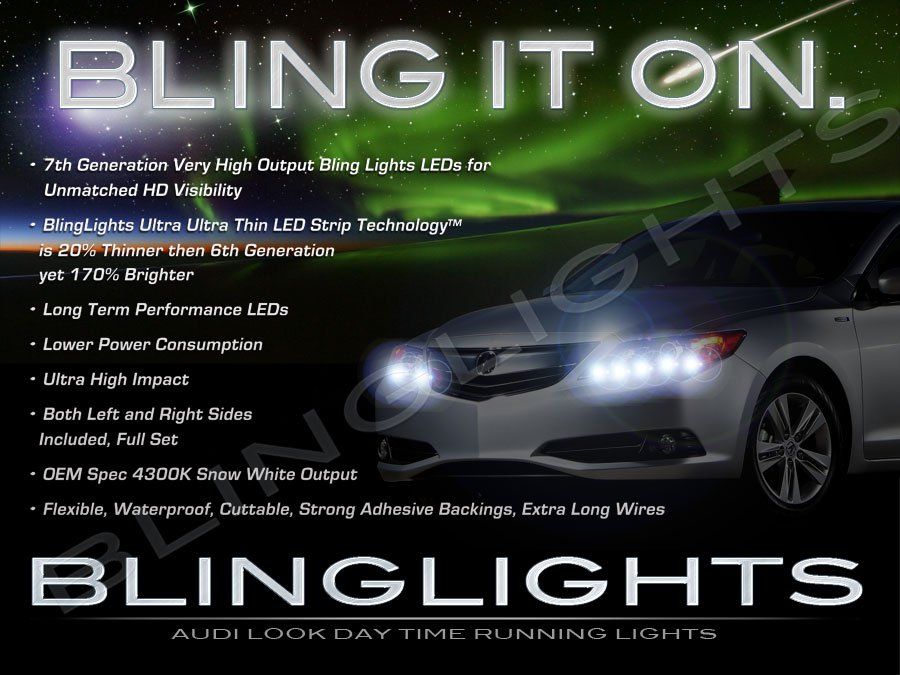 Acura ILX LED DRL Light Strips for Headlamps Headlights Head Lights Day Time Running Lamps