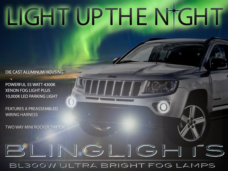 2011 2012 2013 Jeep Compass Xenon Fog Lamps Driving Lights Foglamps Foglights Kit