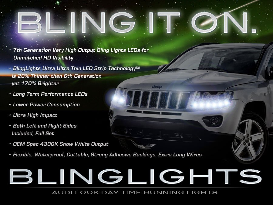 Jeep Compass LED DRL Light Strips for Headlamps Headlights Head Lamps Day Time Running Strip Lights