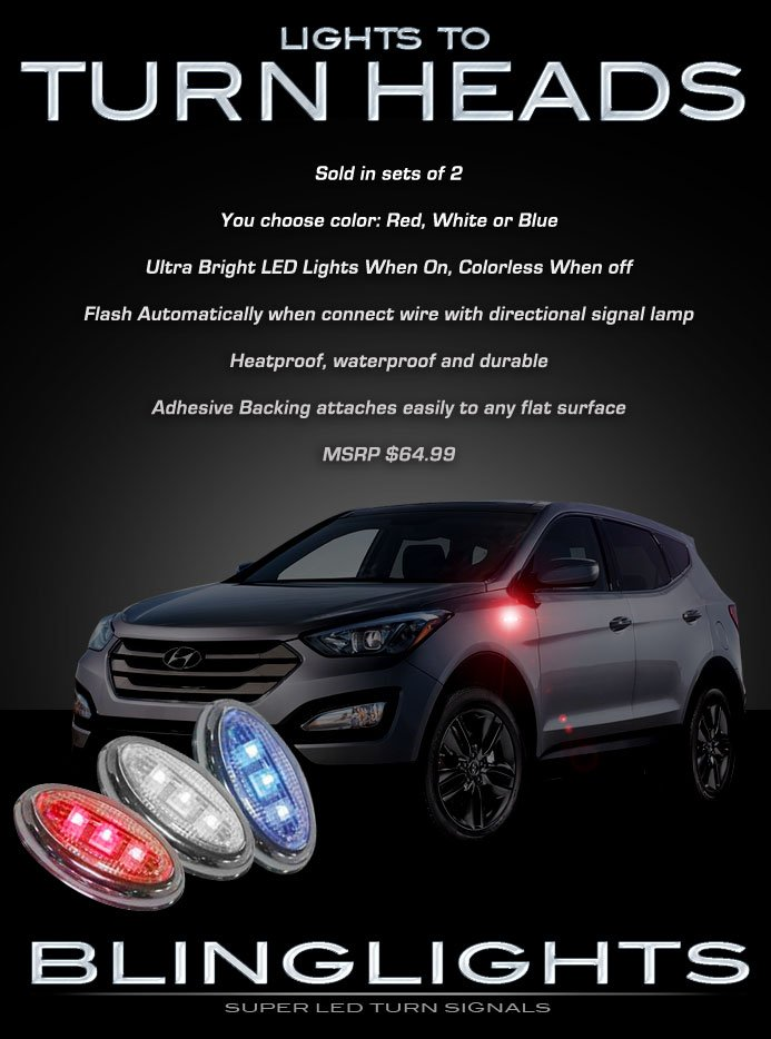 Hyundai Santa Fe LED Side Markers Turnsignal Lamp Lights Turn Signalers Set