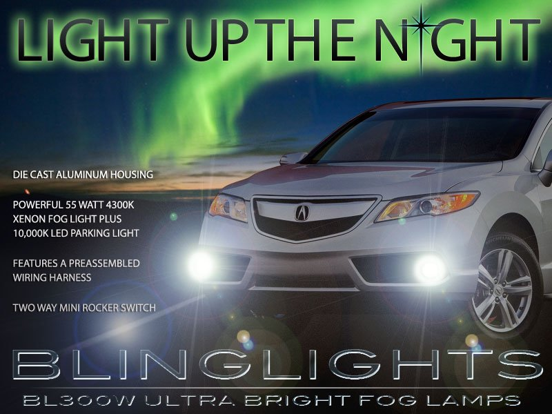 2013 2014 2015 Acura RDX Xenon Fog Lamps Driving Lights Foglamps Foglights Drivinglights Kit