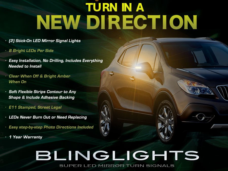 Buick Encore LED Side Mirrors Turnsignals Lights Lamps Turn Signals Mirror Signalers Set