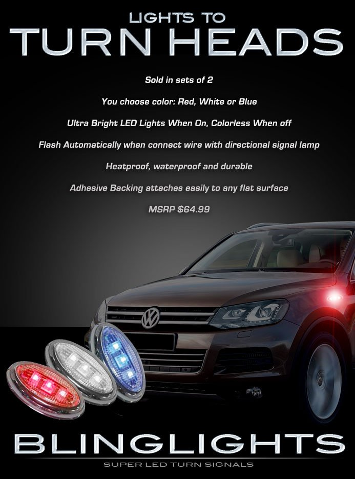 VW Touareg LED Side Markers Turn Signal Lights Signaler Accent Lamp Set Lighting