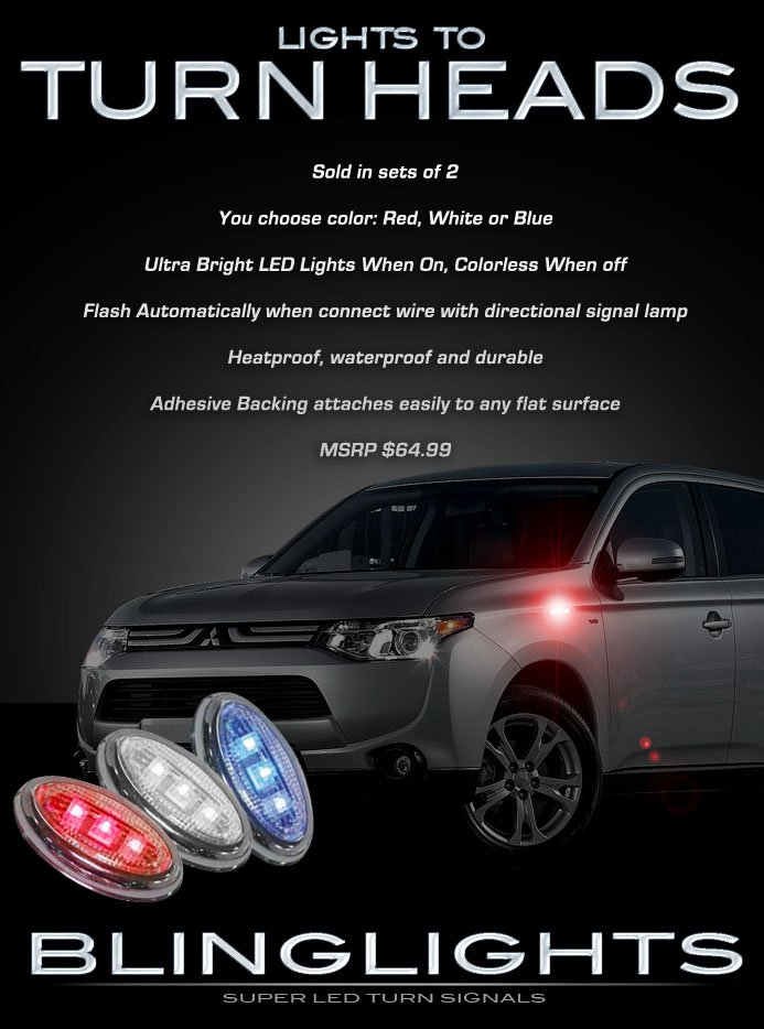 Mitsubishi Outlander LED Side Marker Turn Signals Lights Lamps
