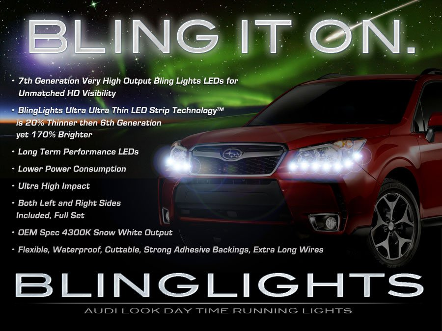 2014-2019 Subaru Forester LED DRL Head Lamp Strips Daytime Running Lights