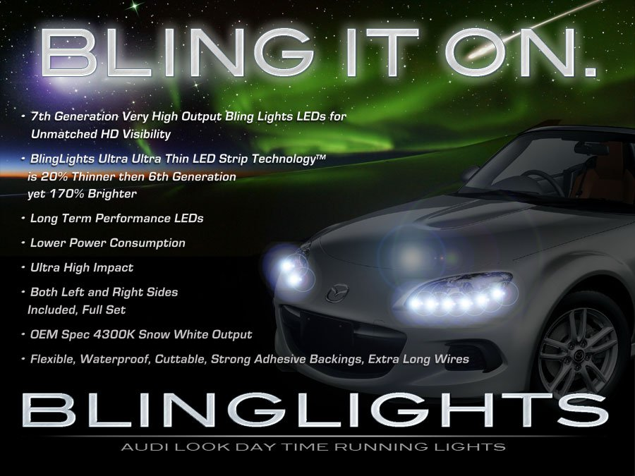 Mazda Miata MX-5 DRL Head Lamps LED Light Strips Kit Day Time Running Lights