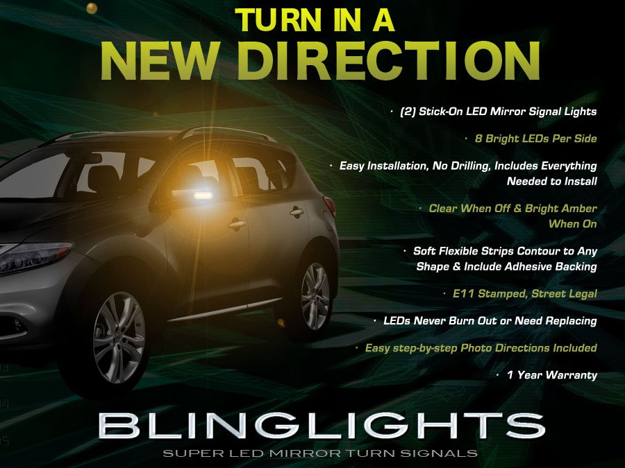 Nissan Murano LED Side Mirror Turn Signals Lamps Lights Kit Blinkers Turnsignalers