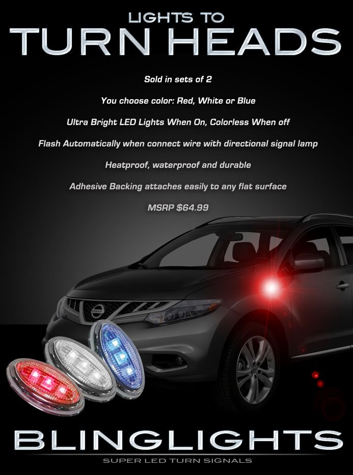 Nissan Murano Side LED Turn Signal Lamps Marker Lights Kit Safety Turnsignalers