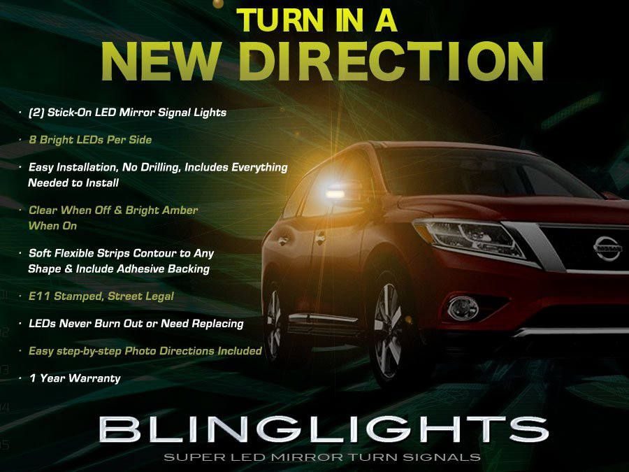 Nissan Pathfinder LED Side Mirror Turnsignal Light Lamps Set Turn Signalers