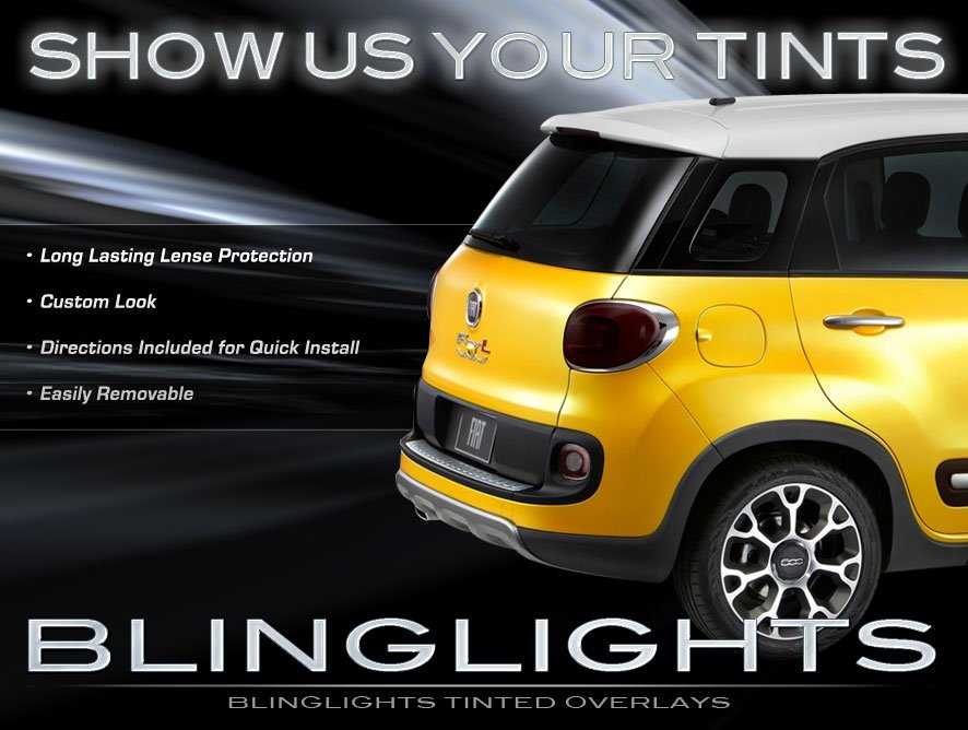 Fiat 500L Tinted Tail Lamps Lights Smoked Overlays Film Kit Taillamp Protection