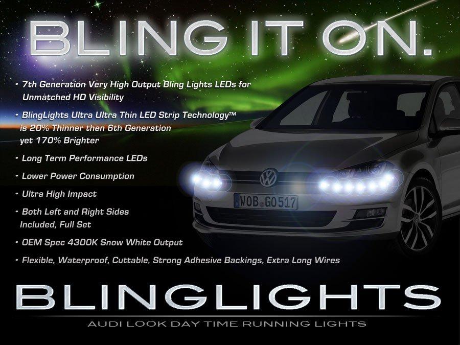 VW Golf LED DRL Head Lamps Strip Lights Day Time Running Kit Volkswagen Mk6 Mk7