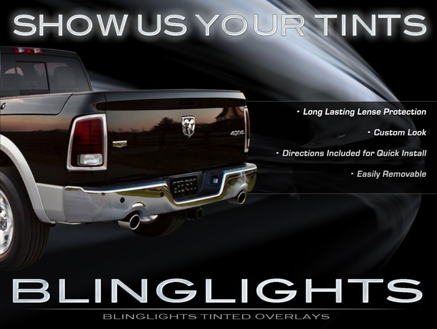 2013 2014 2015 Dodge Ram Tinted Tail Lamps Light Overlay Kit Smoked Film Protection