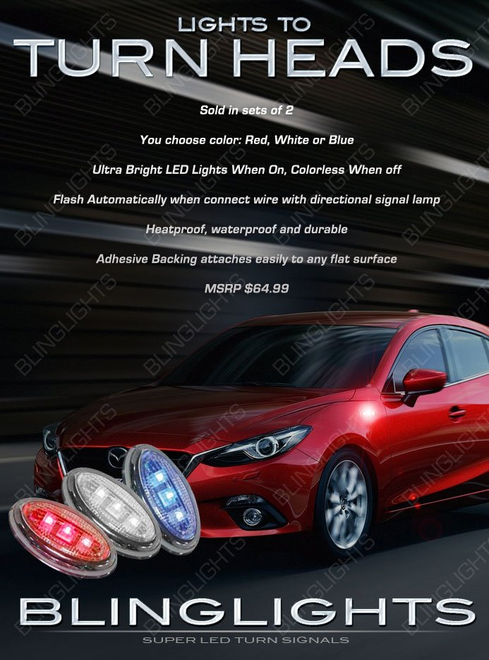 Mazda 3 Mazda3 LED Side Marker Turnsignals Accents Turn Signals LEDs Signalers Lights Markers Lamps