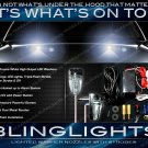 White LED Hood Washers Strobes Bonnet Nozzle Lights Chrome Windshield Sprayers Lamps Kit