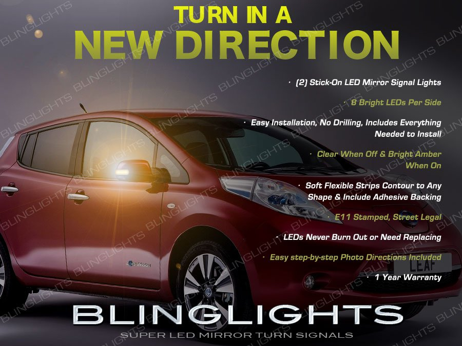Nissan Leaf LED Side View Mirror Turn Signal Lights Signaler Lamps Kit