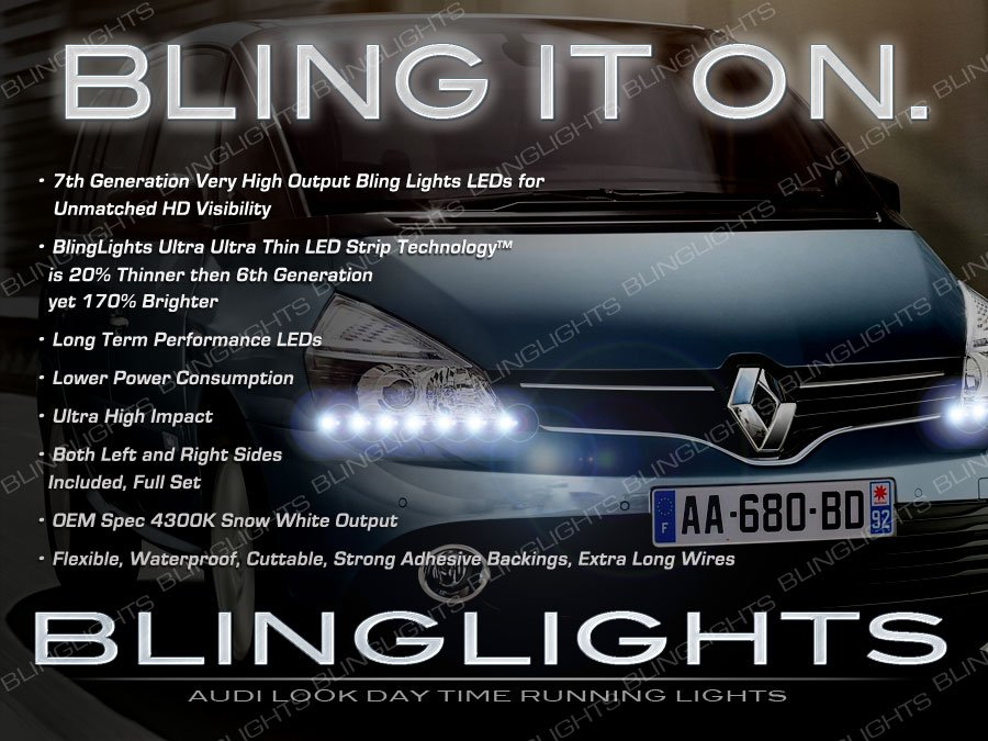 Renault Espace LED DRL Head Light Strips Day Time Running Lamp Kit