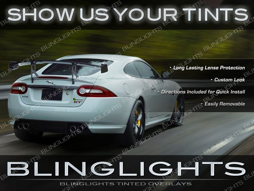 Jaguar XK X100 X150 Protective Tail Light Tinted Overlays Kit Smoked Murdered Out Lamp Film