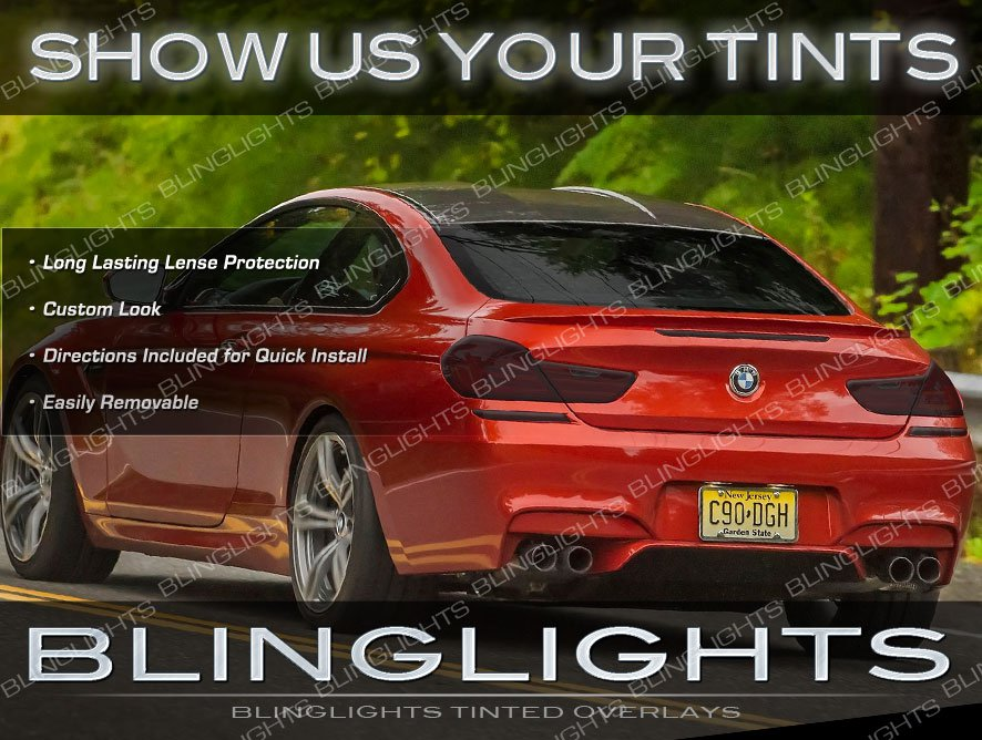 BMW 6 Series Murdered Out Tail Light Overlays Kit Tinted Lamp Lense Film Covers E63 E64 F06 F12 F13