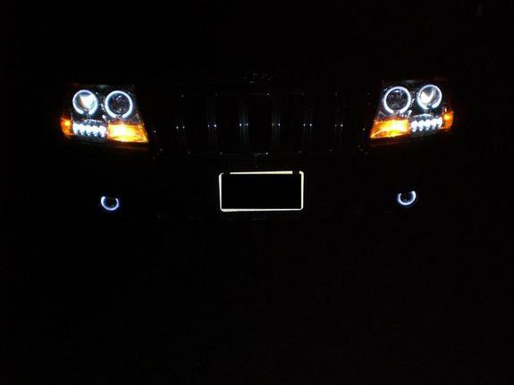 1999-2004 Jeep Grand Cherokee White Halo Fog Lamps Lights