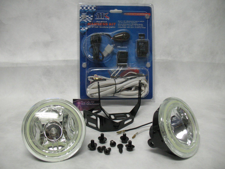 "4"" Inch Round Angel Eye Fog Lights Driving Lamps Kit Universal"