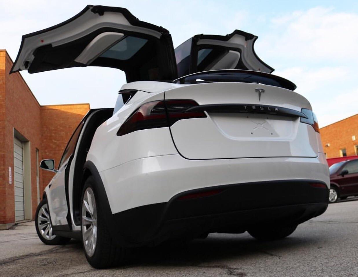 Tesla Model X Smoked Tail Light Overlays Protective Film Covers Kit