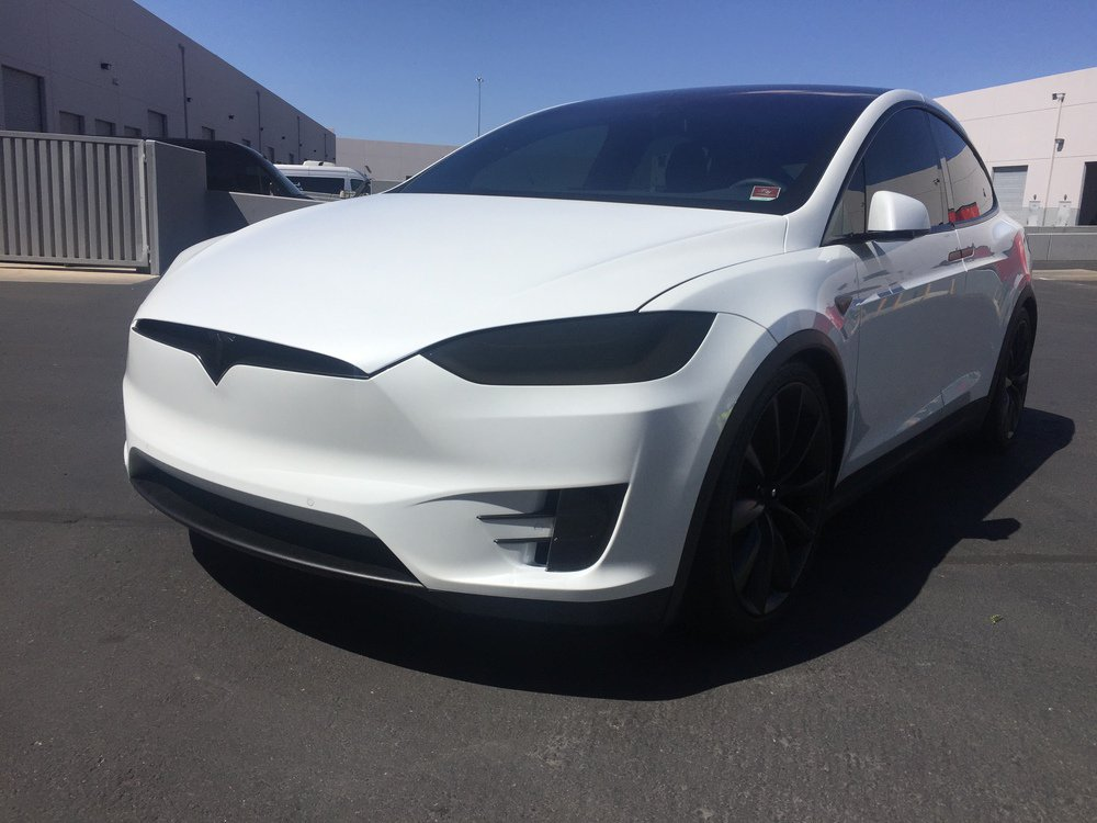 Tesla Model X Head And Fog Lamp Tint Film Headlight Murdered Out Vinyl Overlays