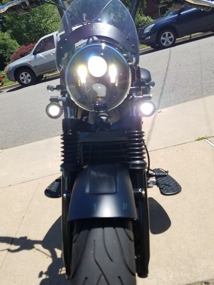 Indian Scout 6000K LED Auxiliary Lights Kit With Custom Lamp Halo Bezels