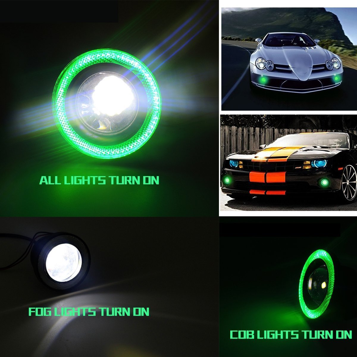 "BlingLights BL5000K 3-Inch Round Green Halo Angel Eye Fog Light 3"" 3in"