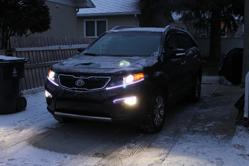 LED DRL Head Light Strips Daytime Running Lamps for Kia Sorento - all years