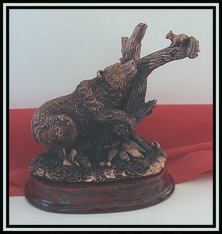 Bronzed Bear & Squirrel Sculpture