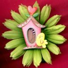 #CLIP-07: Bird & Birdhouse Hair Clothing Accessories Clip, Pin and Ponytail Holder