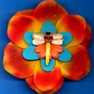 #CLIP-57: Embroidered Dragonfly Flower Hair Clothing Accessories Clip, Pin and Ponytail Holder