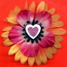 #CLIP-29: Glitter Heart Flower Hair Clothing Accessories Clip, Pin and Ponytail Holder