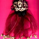 #HGCLIP-17: Leopard Jungle Print Flower Hair Clothing Accessory Clip, Pin and Ponytail Holder
