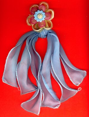 #HGCLIP-18: Embroidered Flower Hair Clothing Accessories Clip, Pin and Ponytail Holder