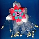 #HGCLIP-32: Bumblebee Rosebud Flower Scrunchie Hair Clothing Accessory Clip, Pin and Ponytail Holder
