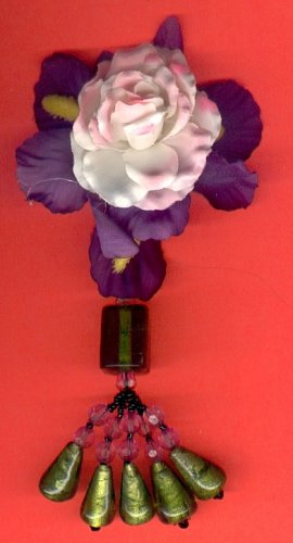 #HGCLIP-34: Pink Rose Flower Hair Clothing Accessory Clip, Pin and Ponytail Holder