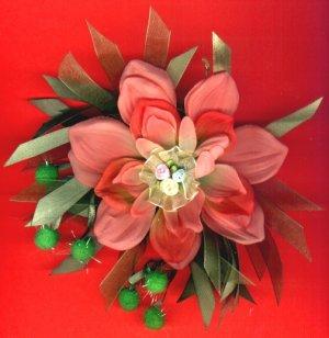 #HGCLIP-36: Rosebud Pom Poms Flower Scrunchie Hair Clothing Accessory Clip, Pin and Ponytail Holder