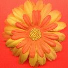#CLIP-78: Orange Bead Flower Hair Clothing Accessory Clip, Pin and Ponytail Holder