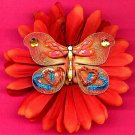 #CLIP-44: Rhinestone Butterfly Flower Hair Clothing Accessory Clip, Pin and Ponytail Holder