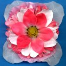 #CLIP-166: White Pink Tropical Flower Hair Clothing Accessories Clip, Pin and Ponytail Holder